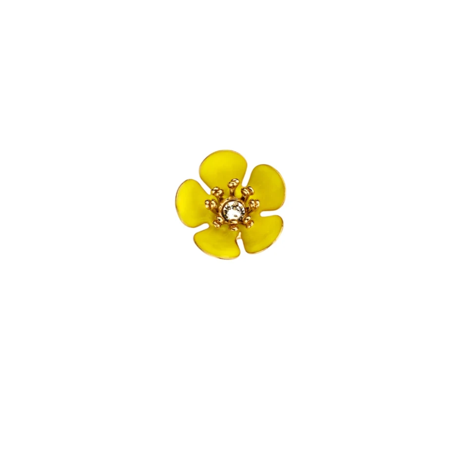 SINGLE Gina mini enamel flower yellow  earring - Souvenirs de Pomme