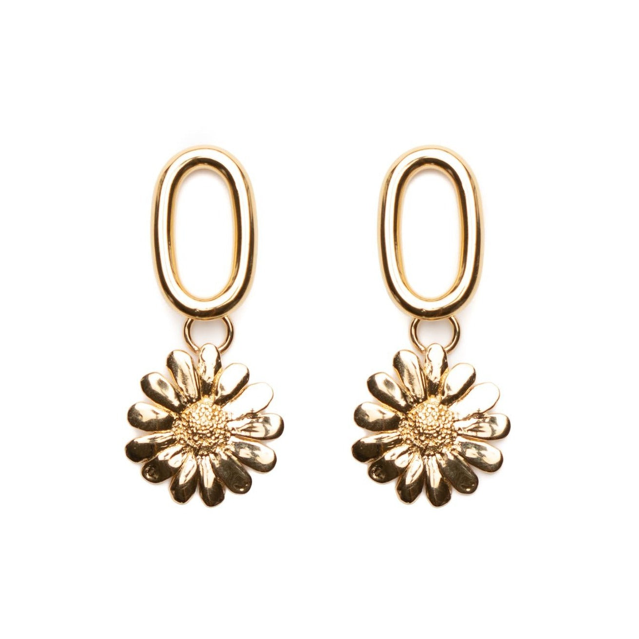 Pippa gold sunflower earrings