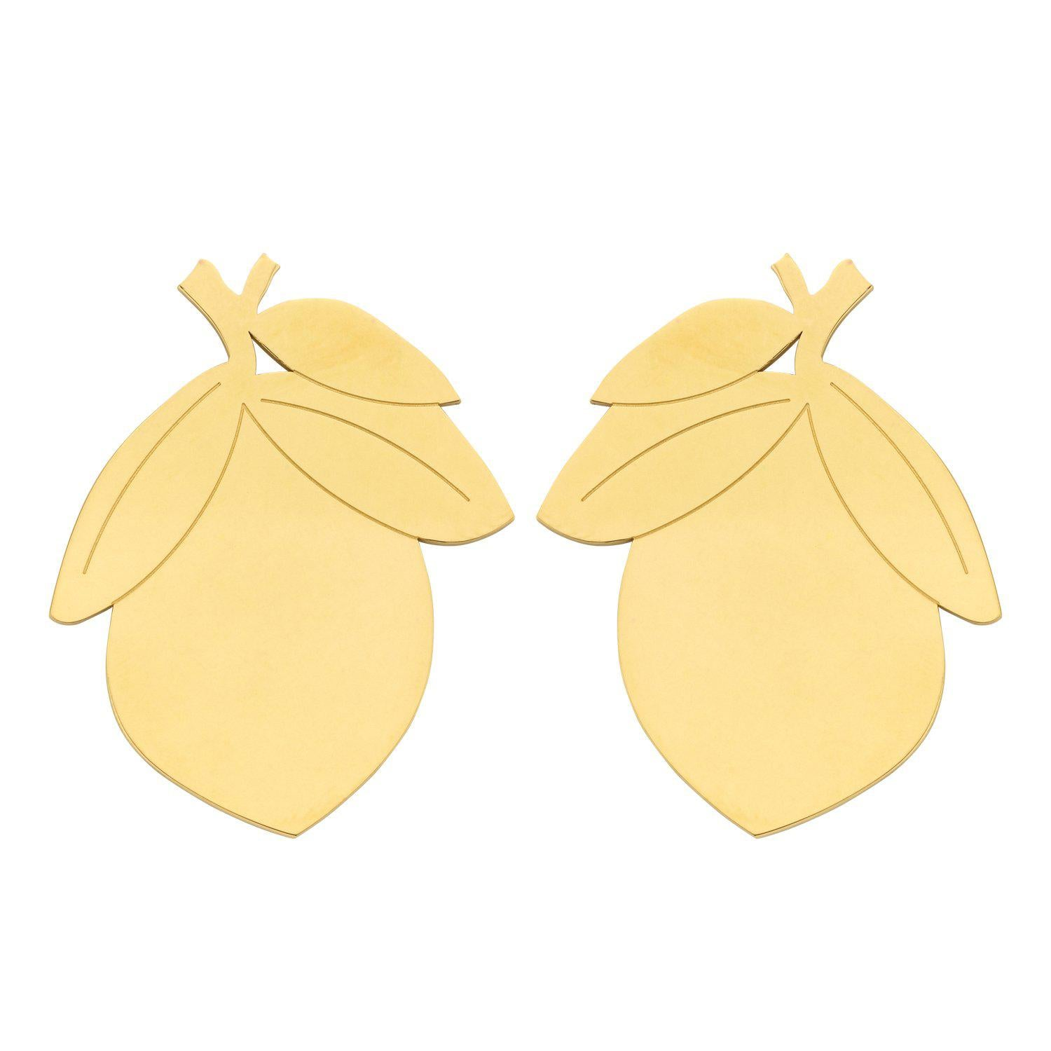 Lemon Large statement earring gold-oorbellen-Souvenirs de Pomme