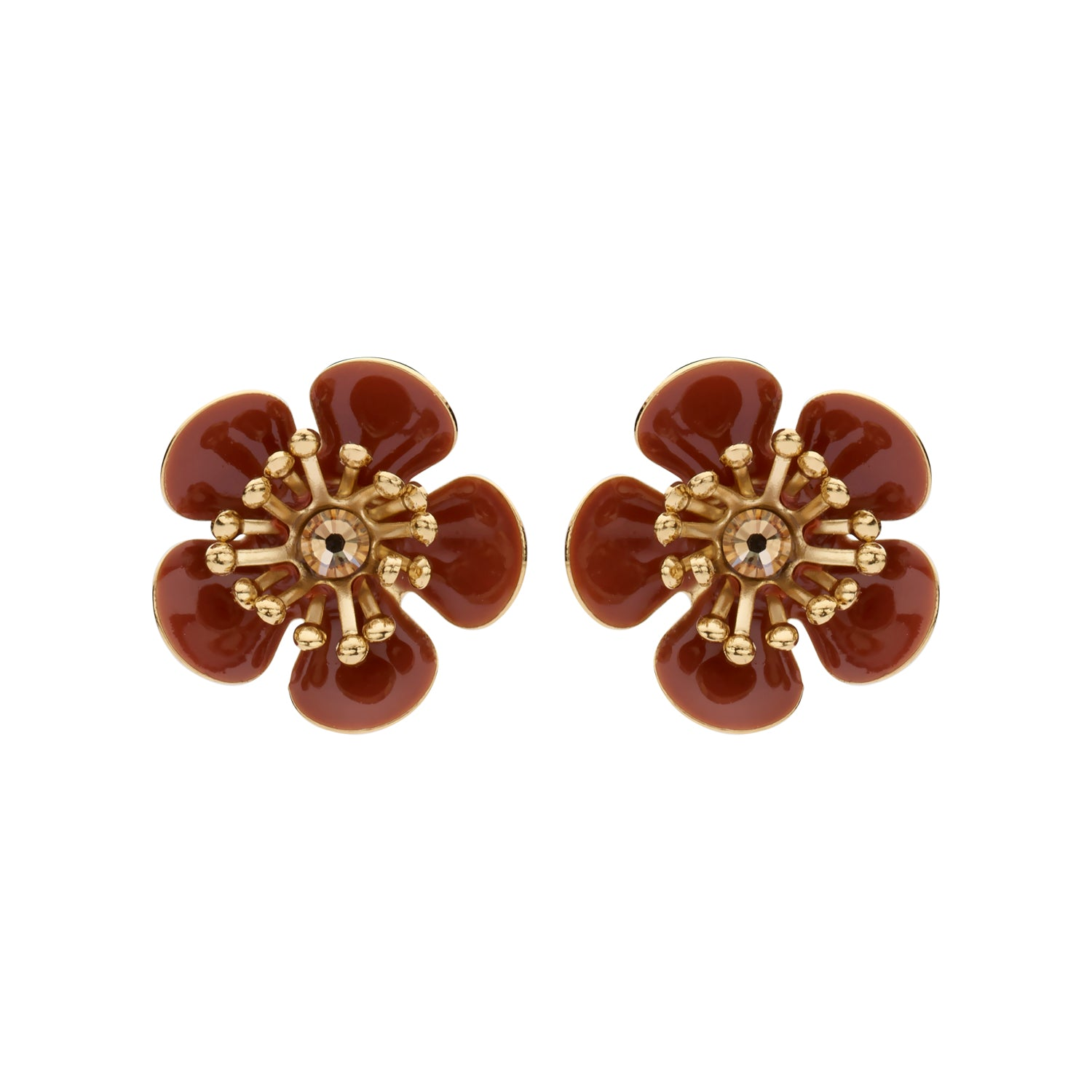 Gina mini shortie camel earrings