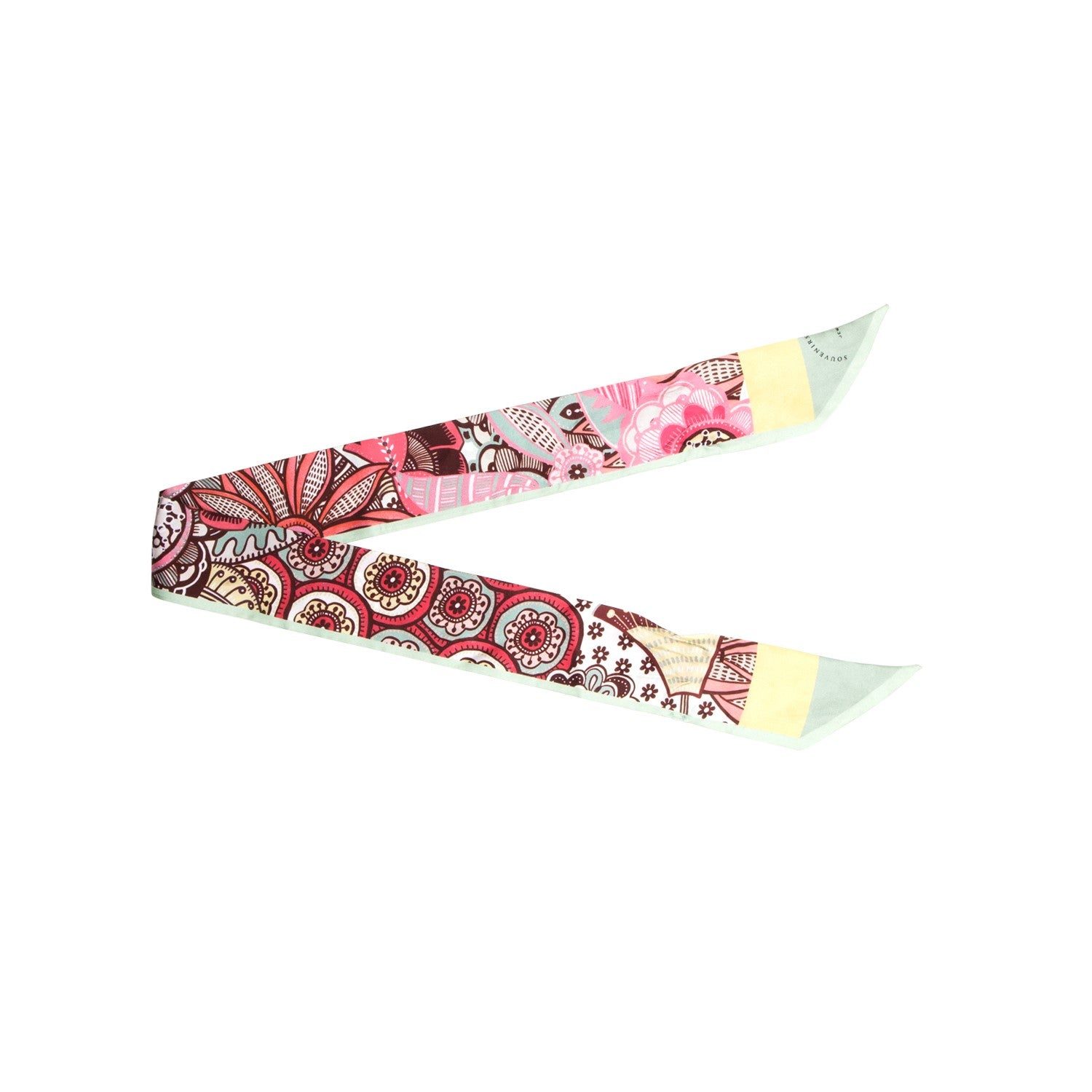 Twill flowers mint ribbon - Souvenirs de Pomme