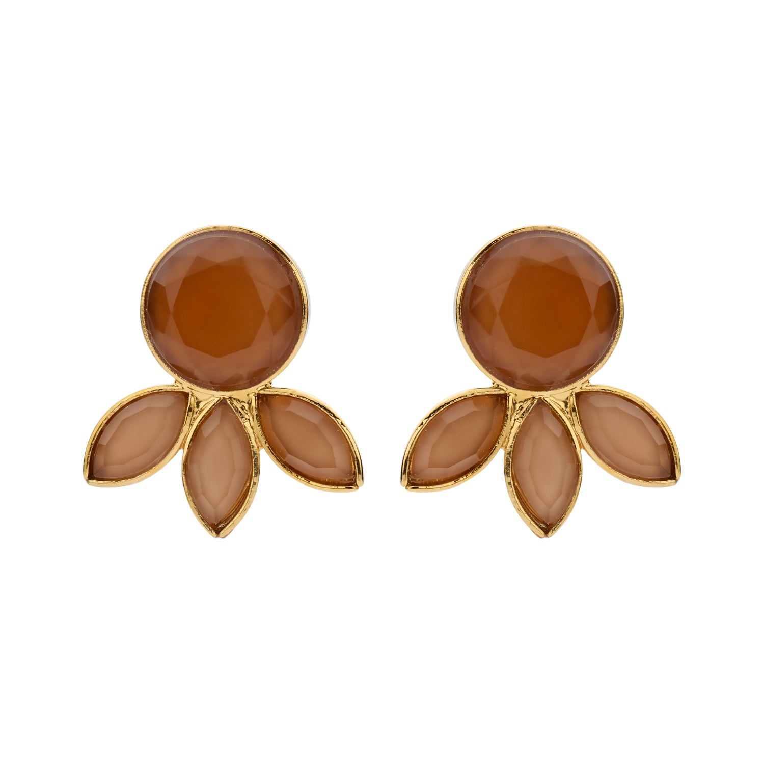 Palm Navette coffee earrings