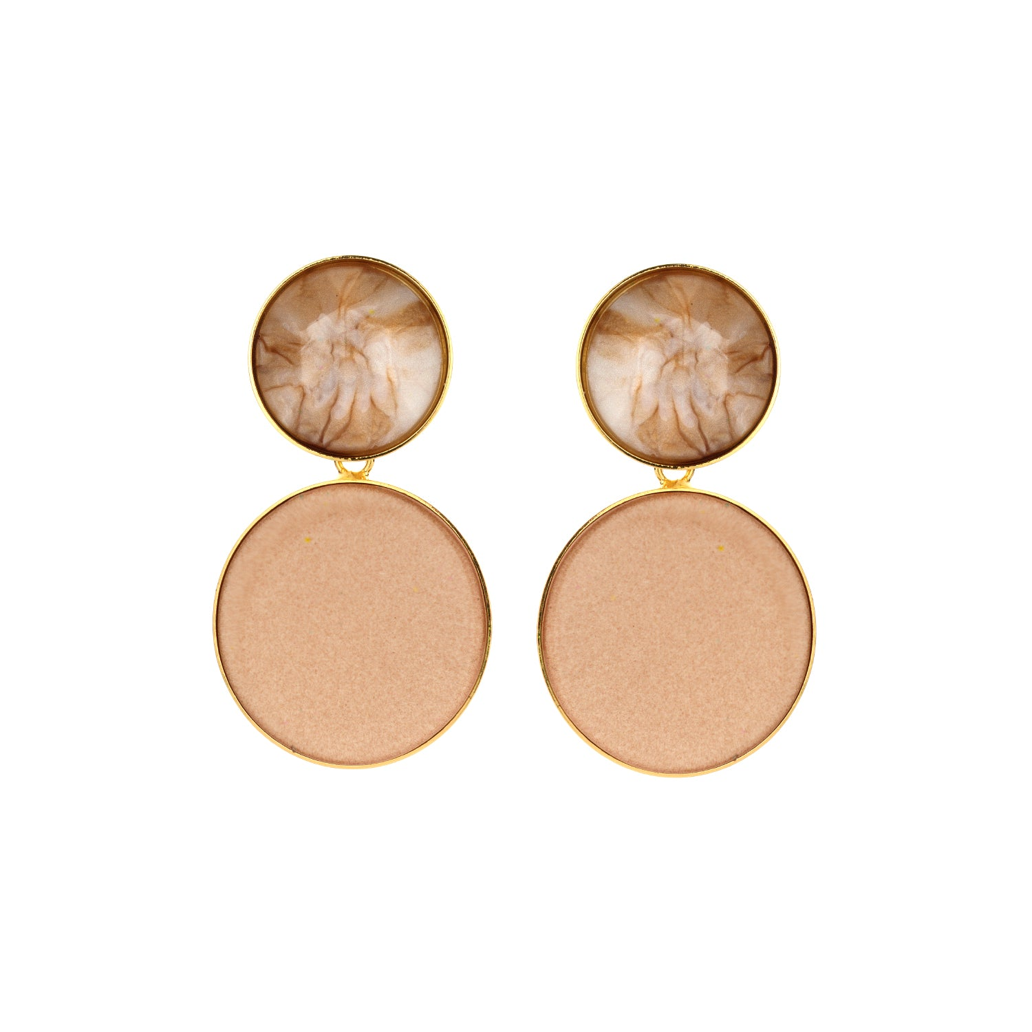Large disk flat nude earrings - Souvenirs de Pomme