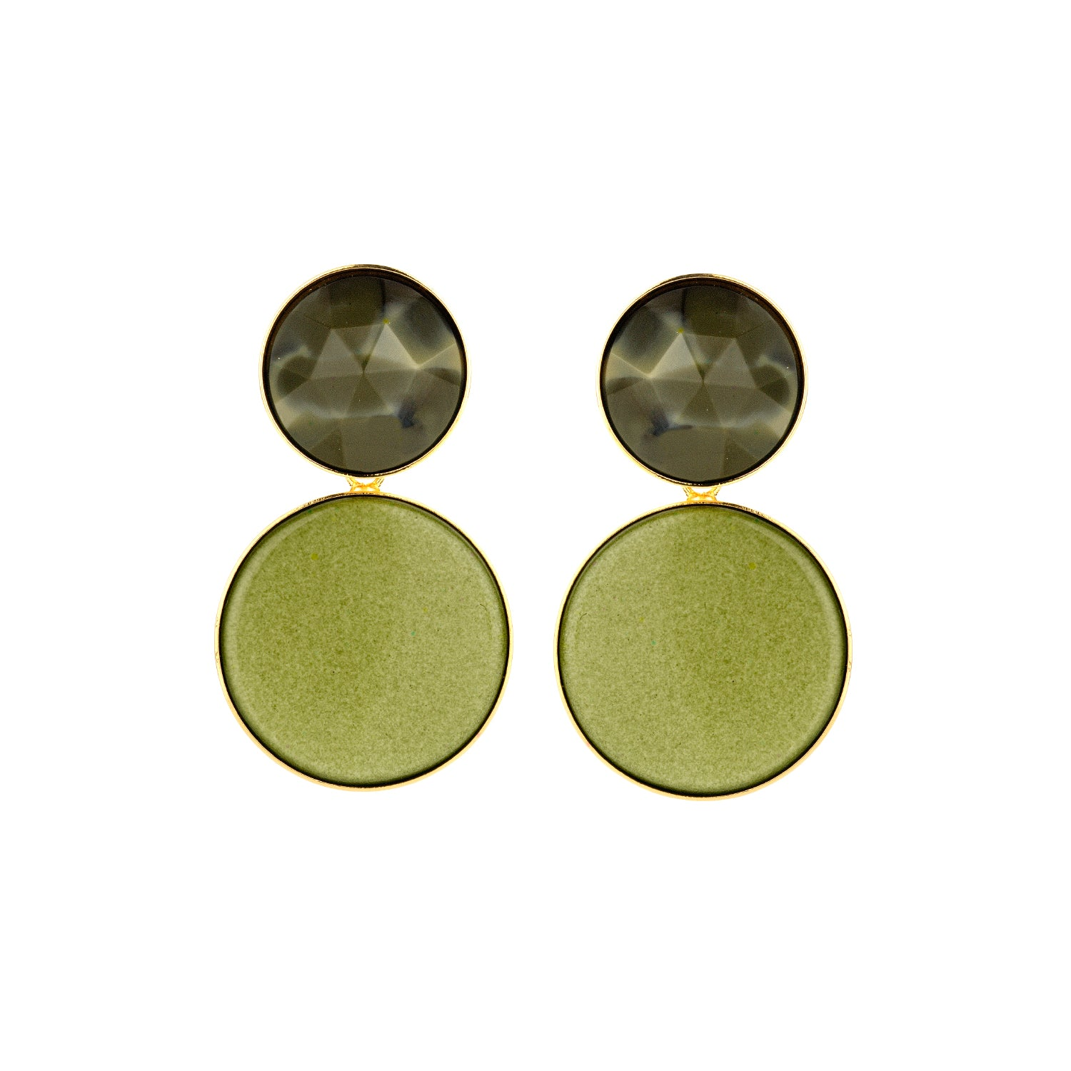 Large disk flat light kaki earrings - Souvenirs de Pomme