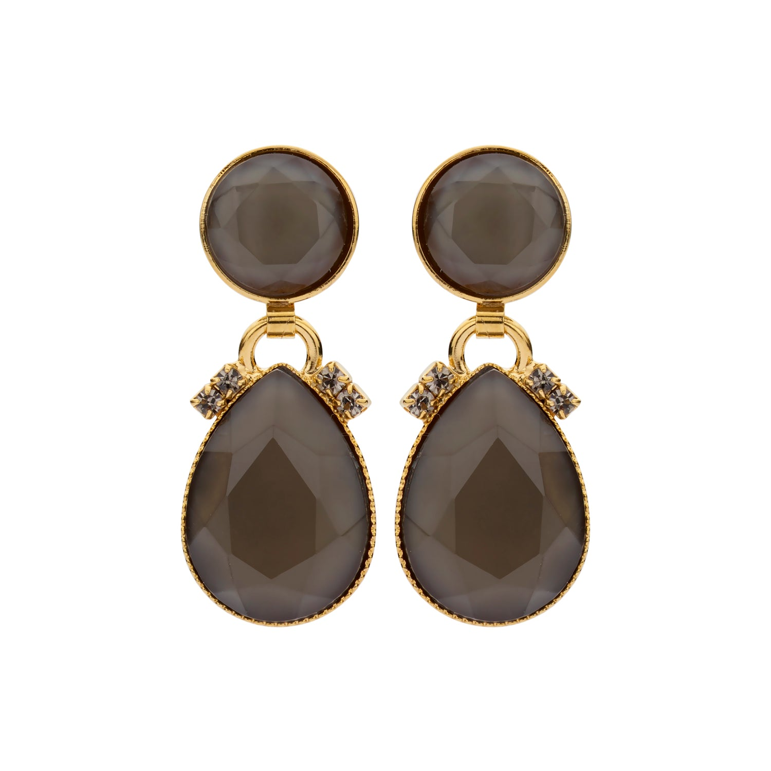 Mini 2 drops kaki beige earrings
