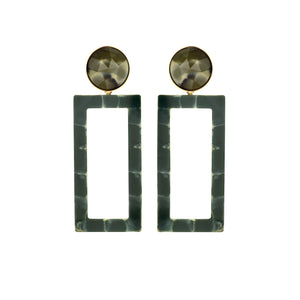 Mary large green marble earring