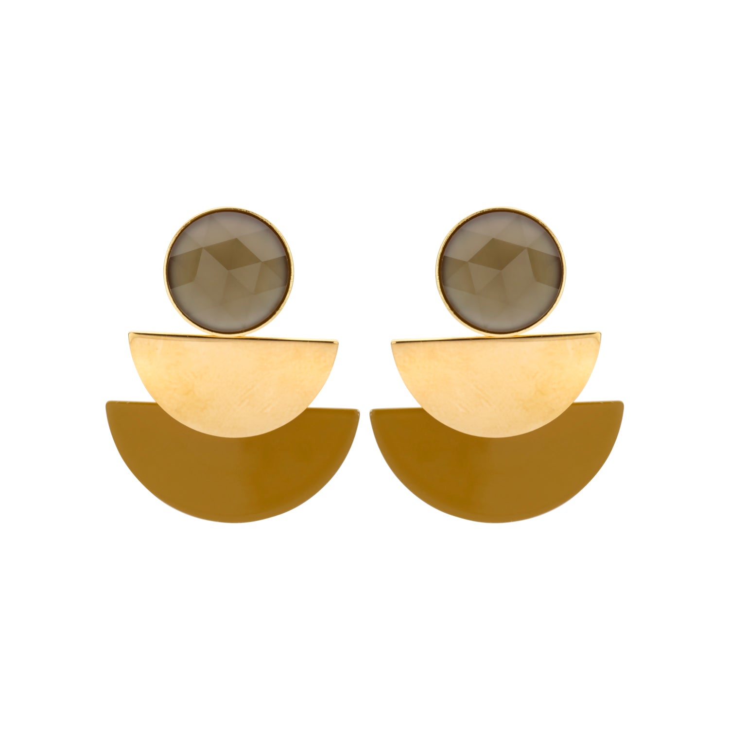 Duo moon mustard earrings