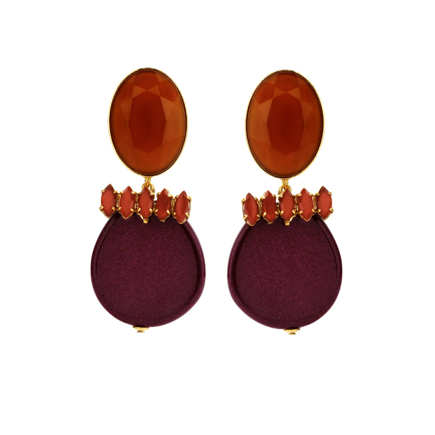 Navette statement aubergine mix earrings