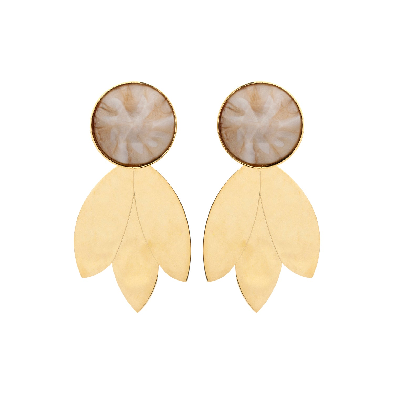 Leaf shorty nude earrings