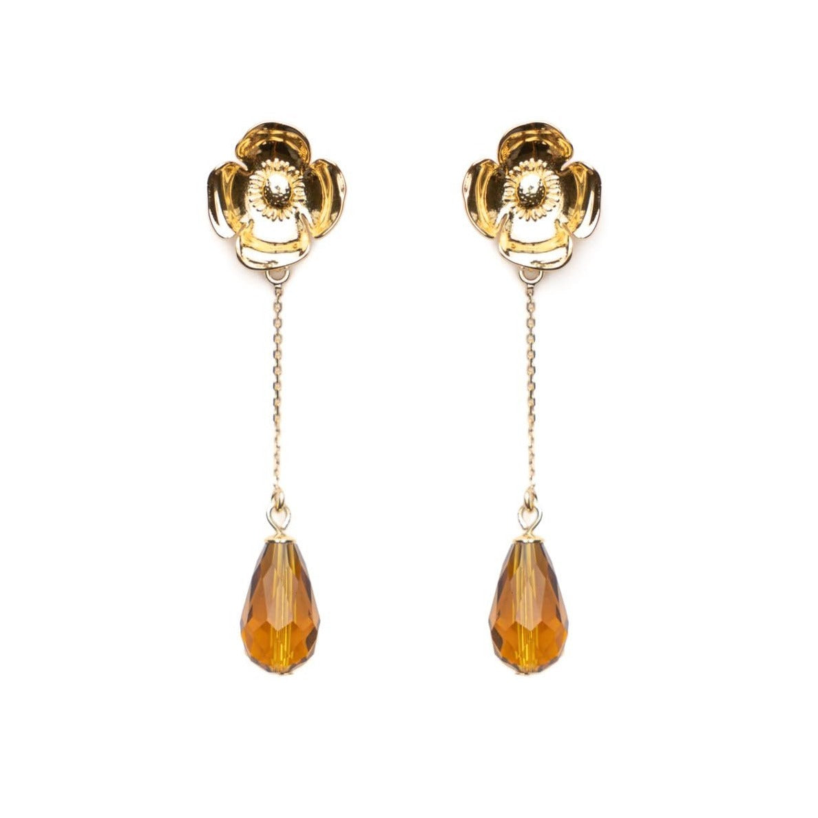 Selma long cognac earrings