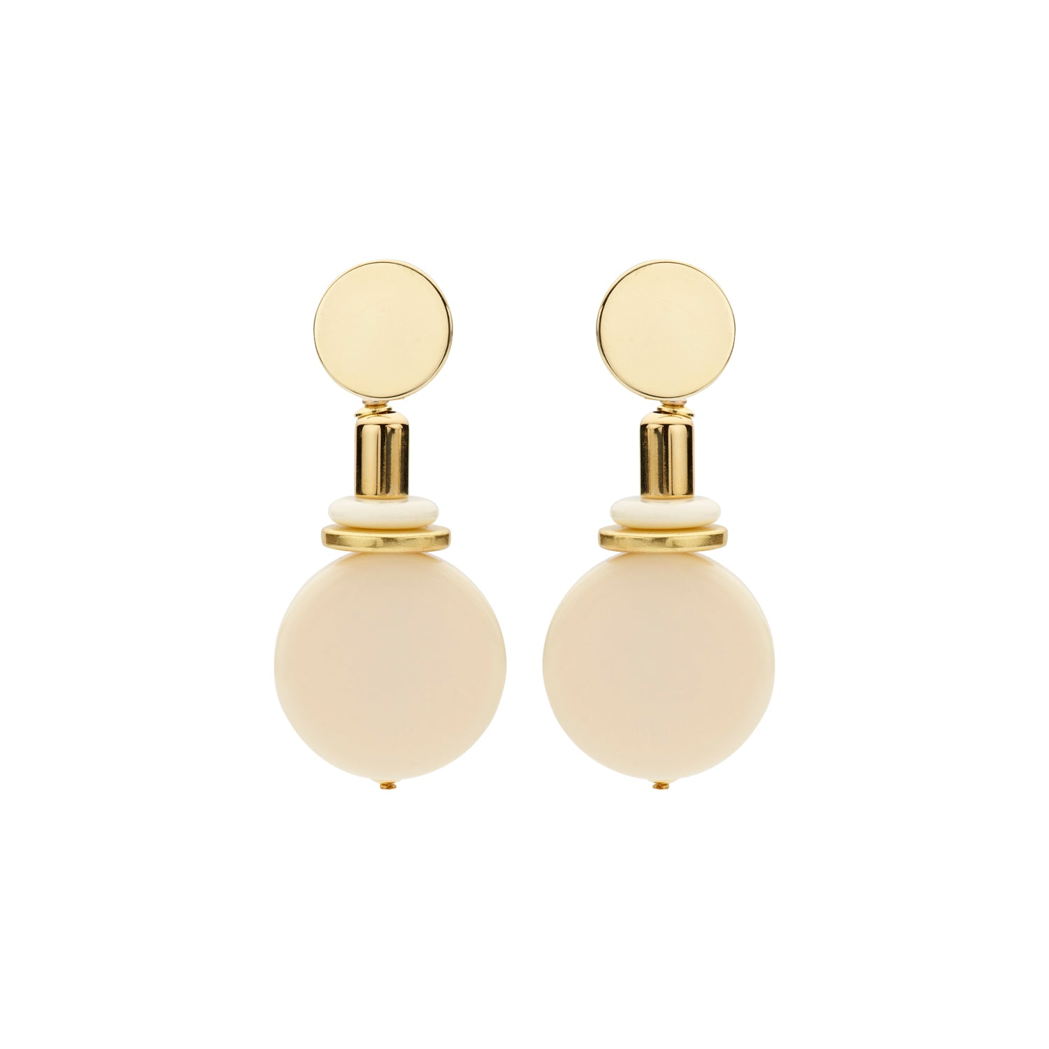 Naomi disk flat ivory earrings - Souvenirs de Pomme