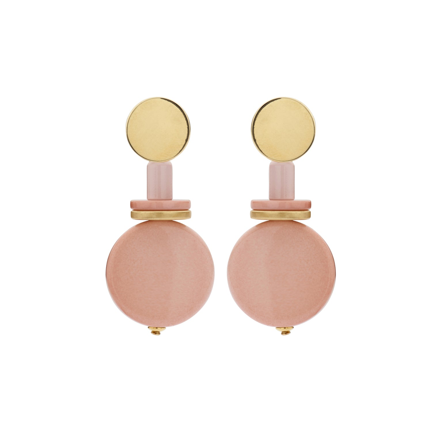 Naomi disk flat nude earrings - Souvenirs de Pomme