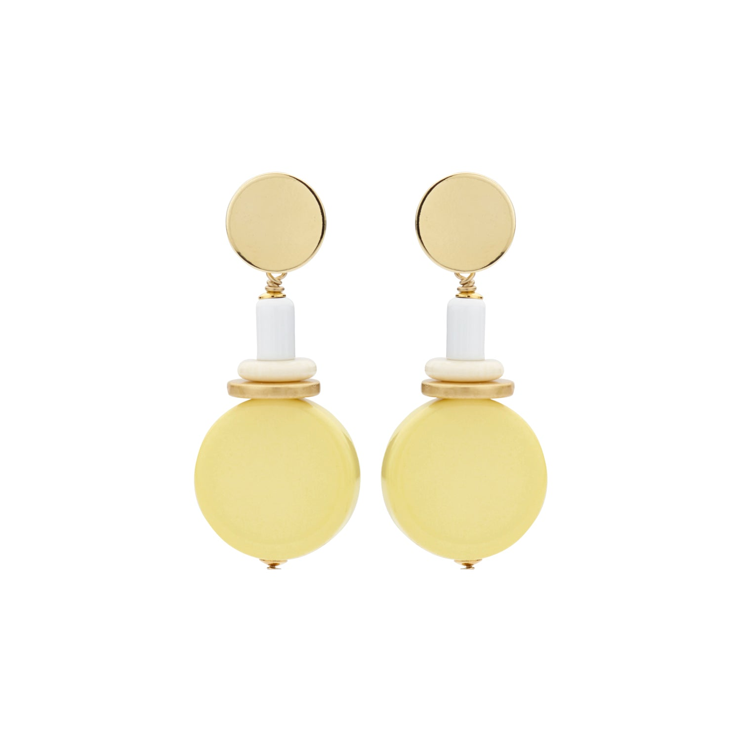 Naomi disk flat yellow earrings - Souvenirs de Pomme