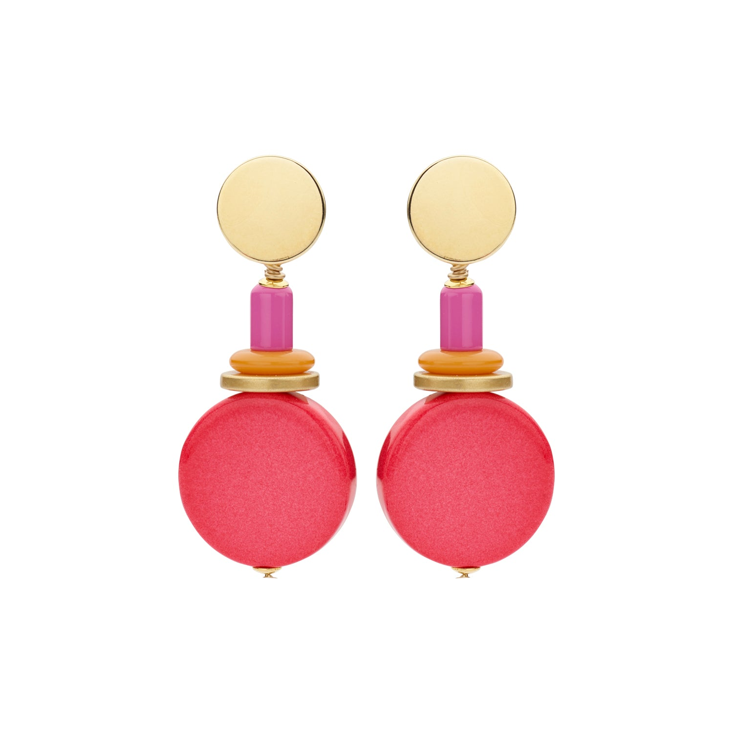 Naomi disk flat coral earrings - Souvenirs de Pomme
