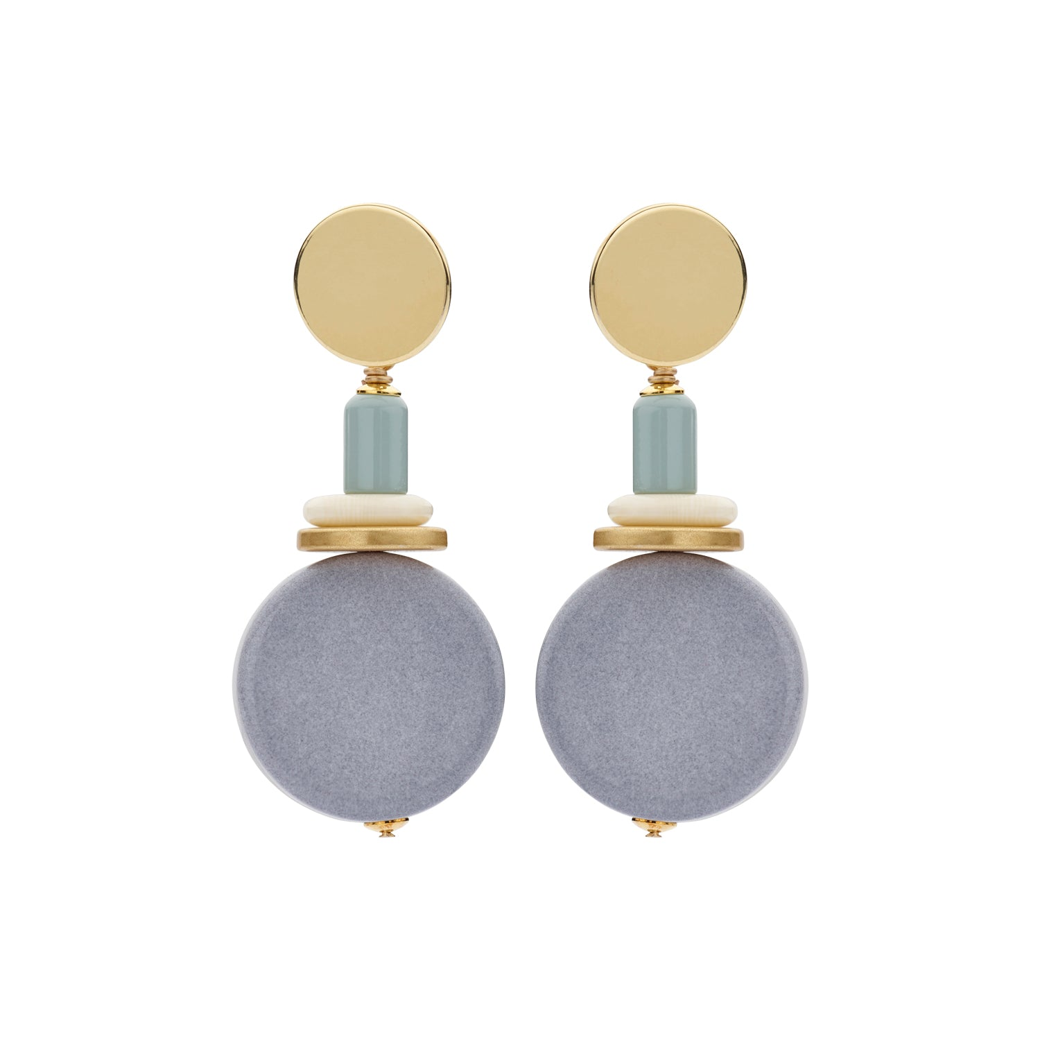 Naomi disk flat jeans earrings - Souvenirs de Pomme