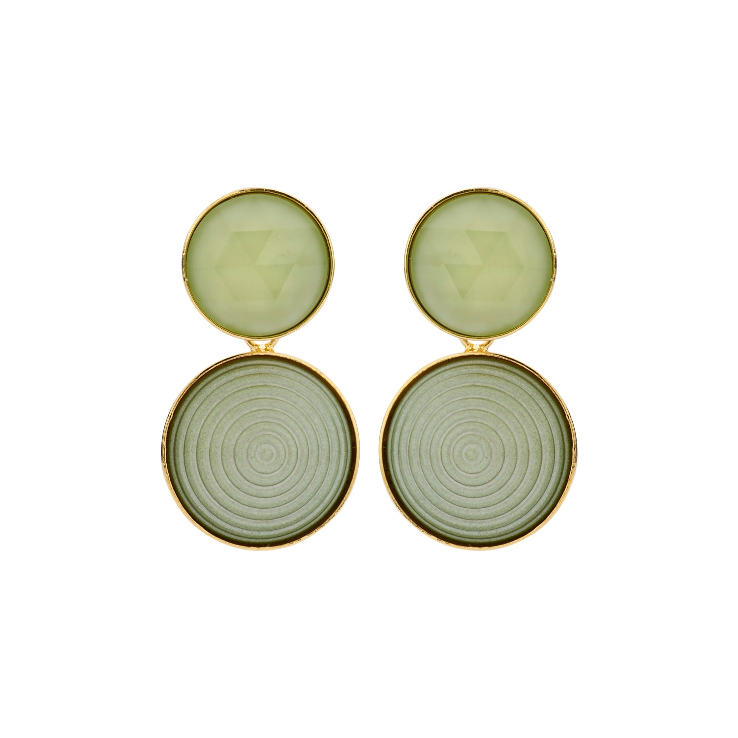 Lines Caro light kaki earrings - Souvenirs de Pomme