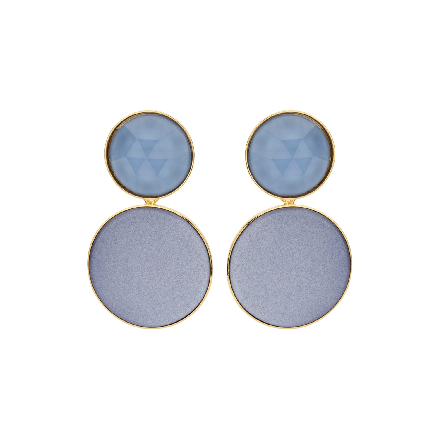 Large disk flat jeans earrings - Souvenirs de Pomme