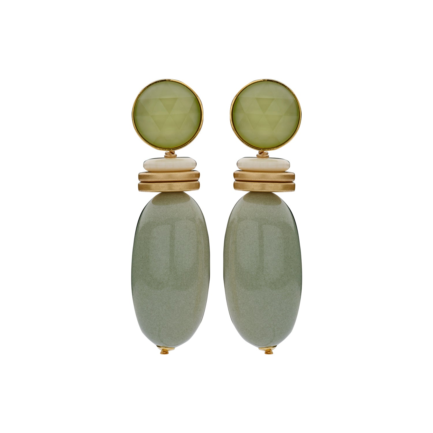 Nanou bold light kaki earrings - Souvenirs de Pomme