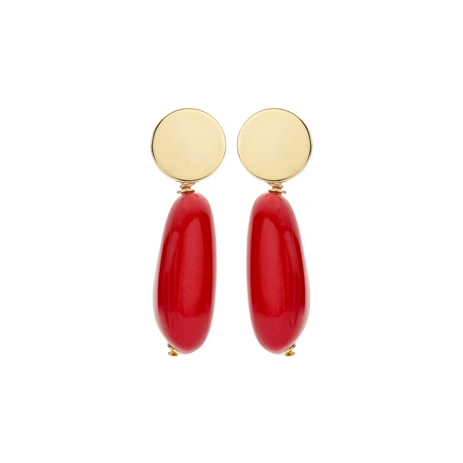 Long oval menon coral/red earrings - Souvenirs de Pomme