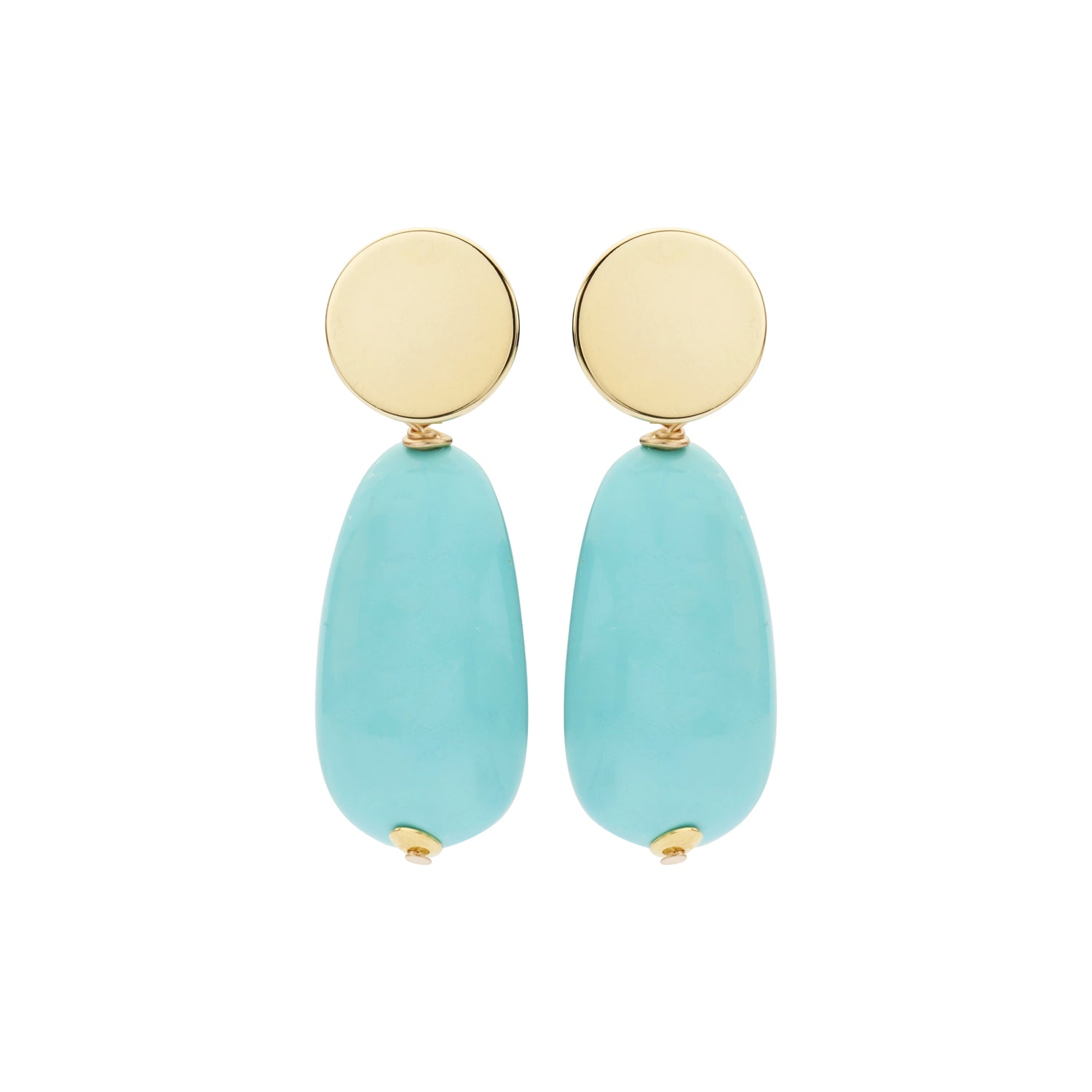 Long oval menon turquoise earrings - Souvenirs de Pomme