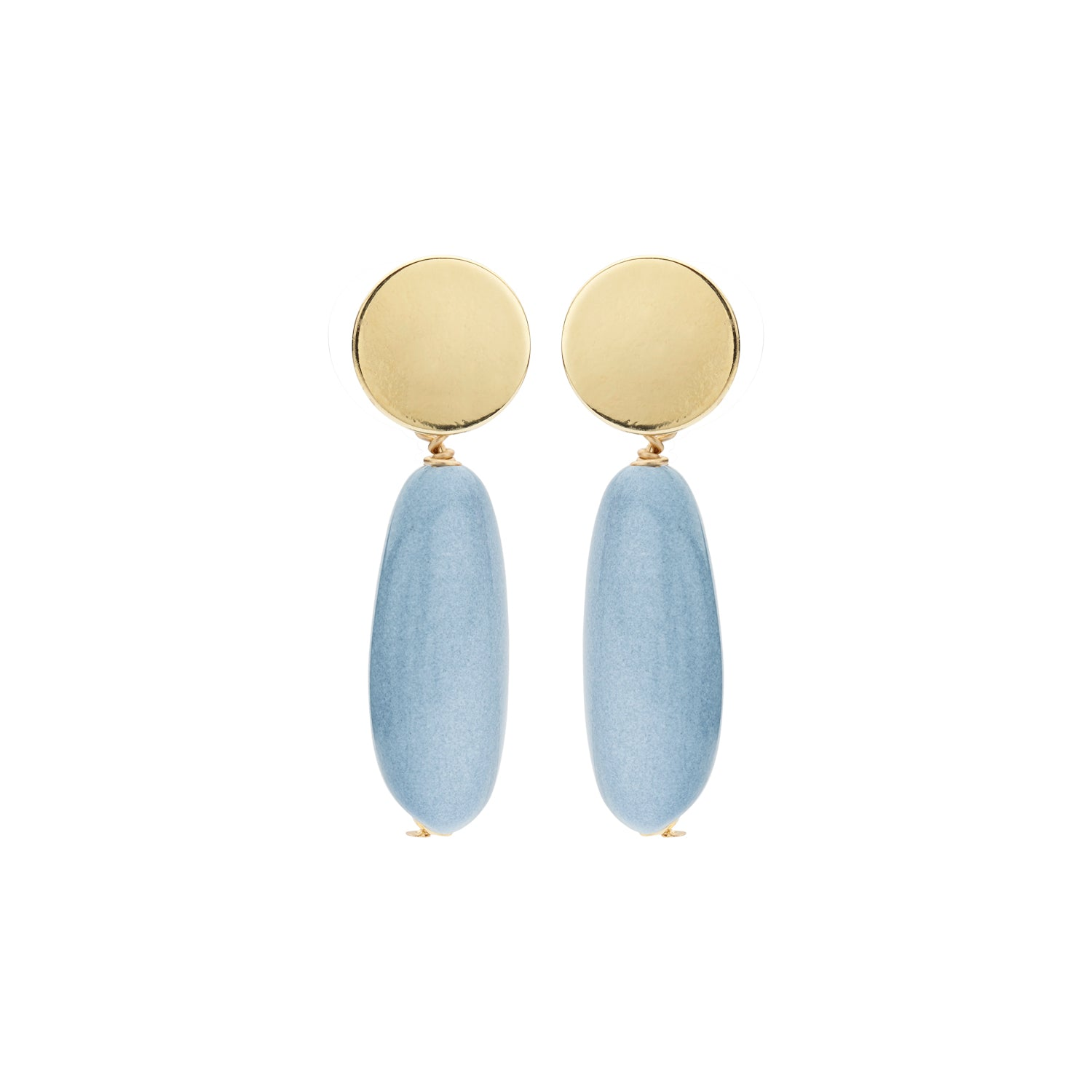 Long oval menon jeans earrings - Souvenirs de Pomme