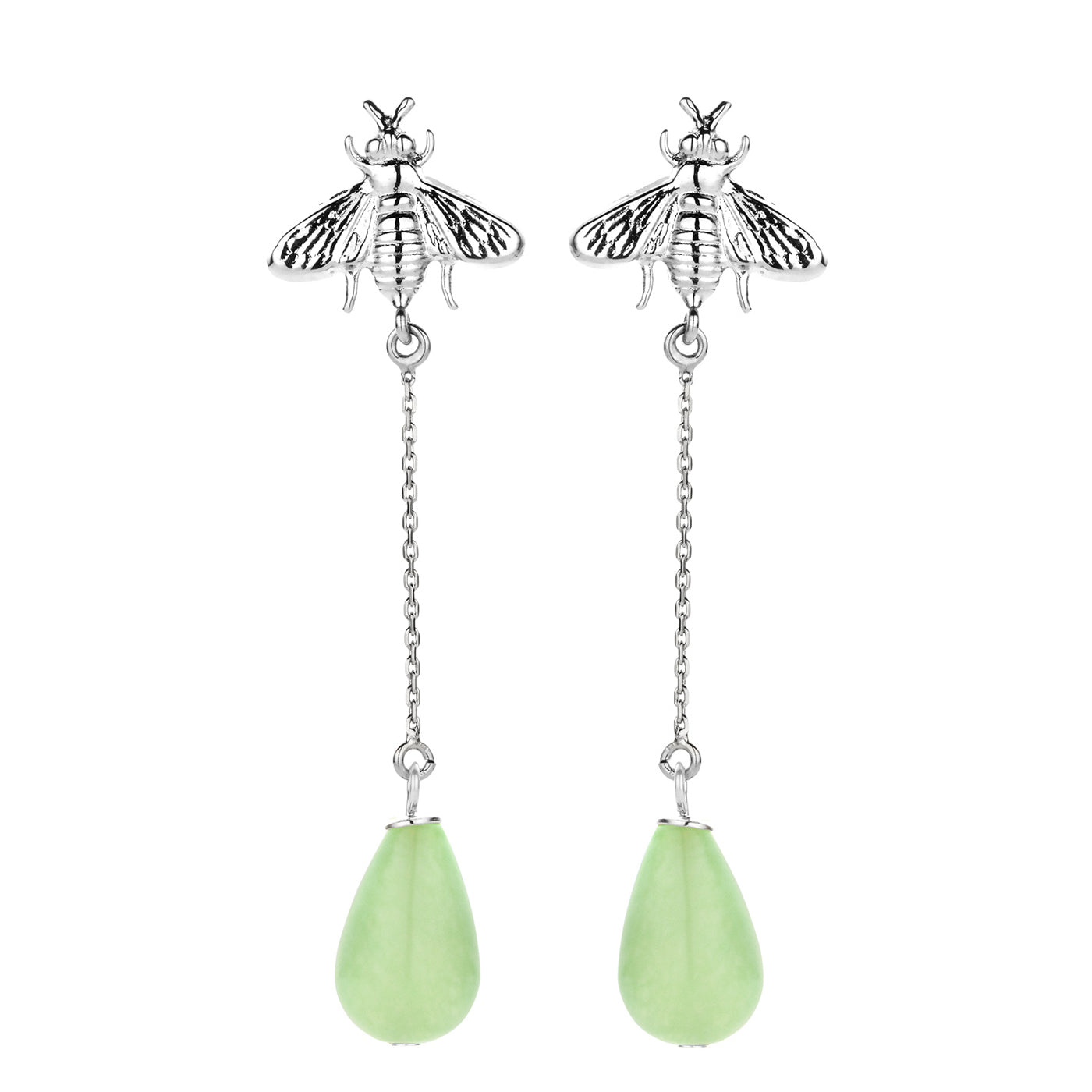 Bee long earring silver green