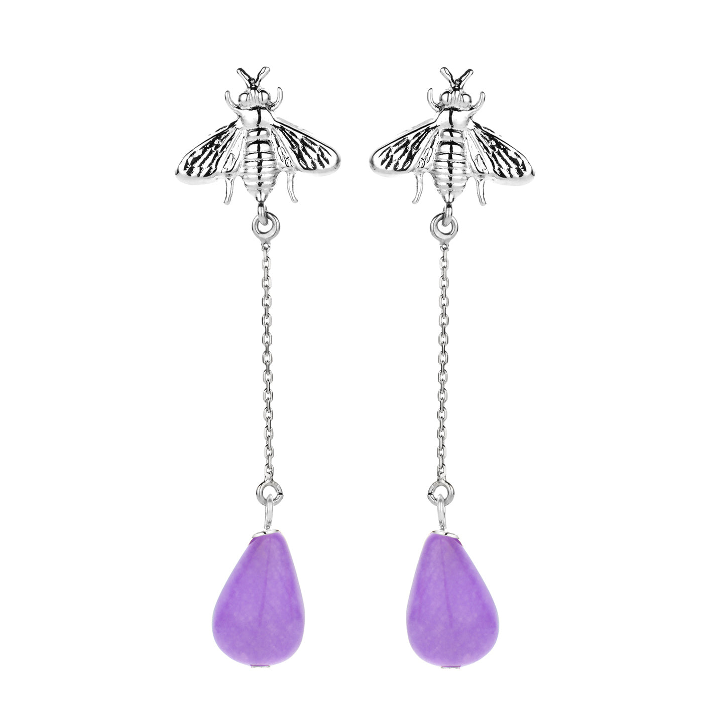 Bee long earring silver purple