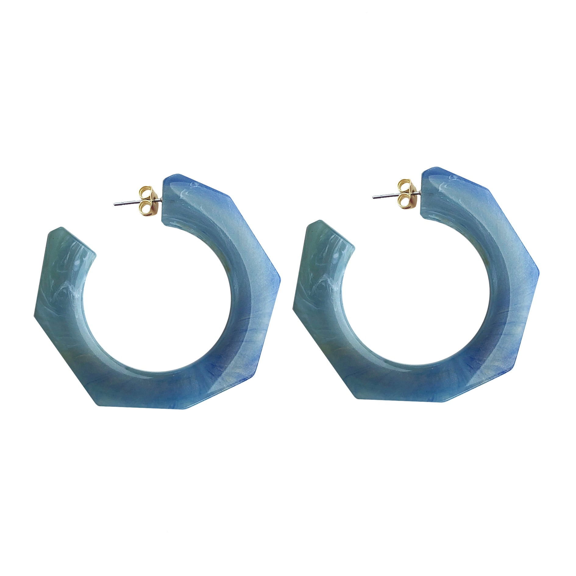 Hanna hoop large earring blue