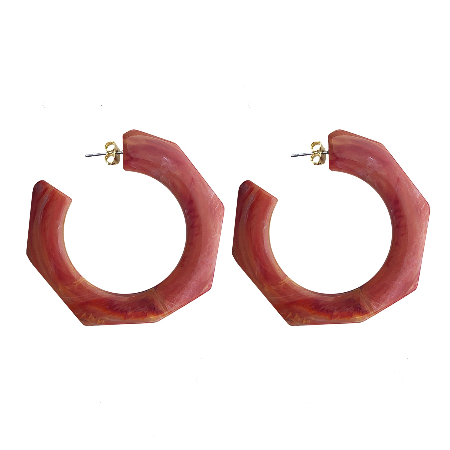 Hanna hoop large earring red