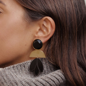 Pomme statement black earrings