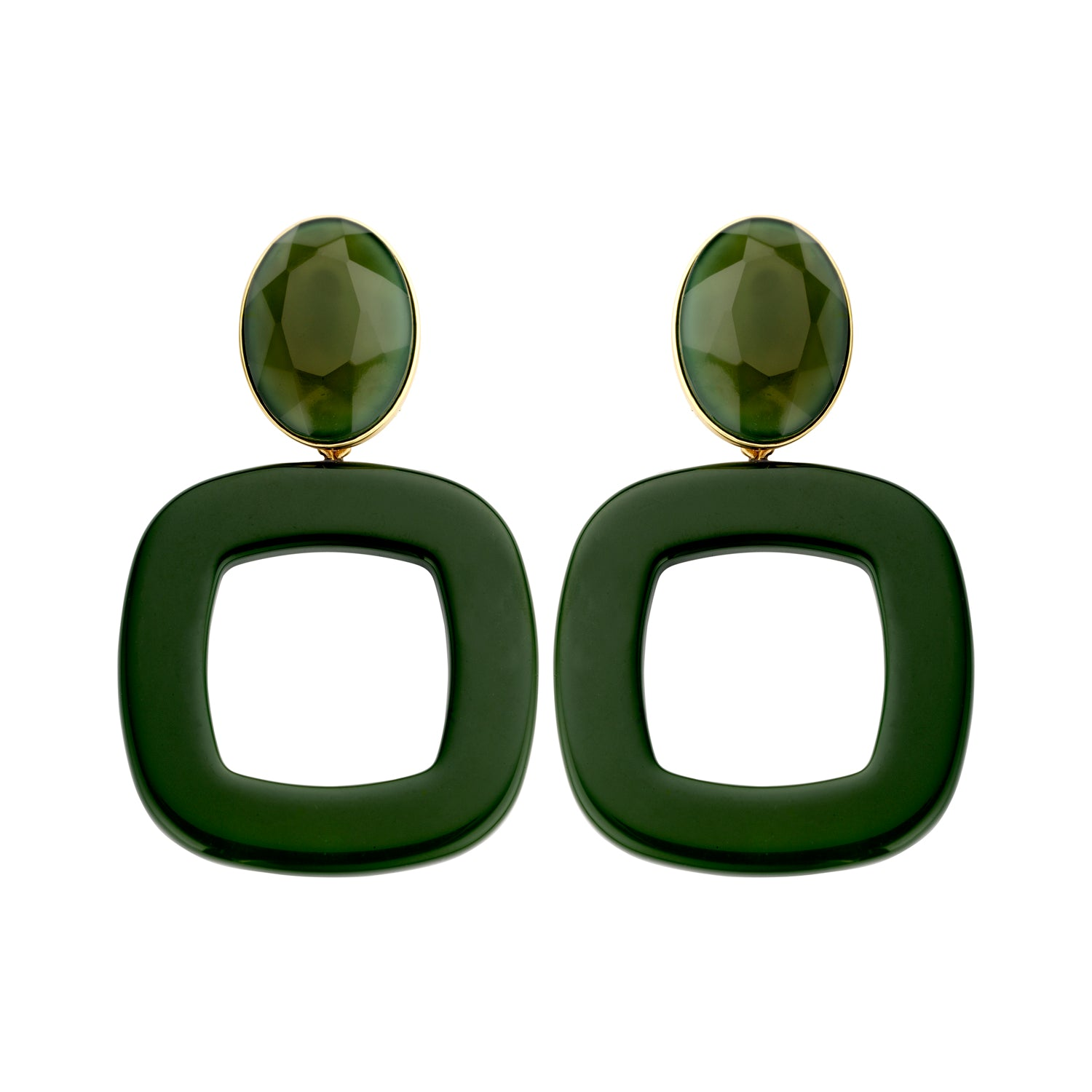 Luciana statement green earrings - Souvenirs de Pomme