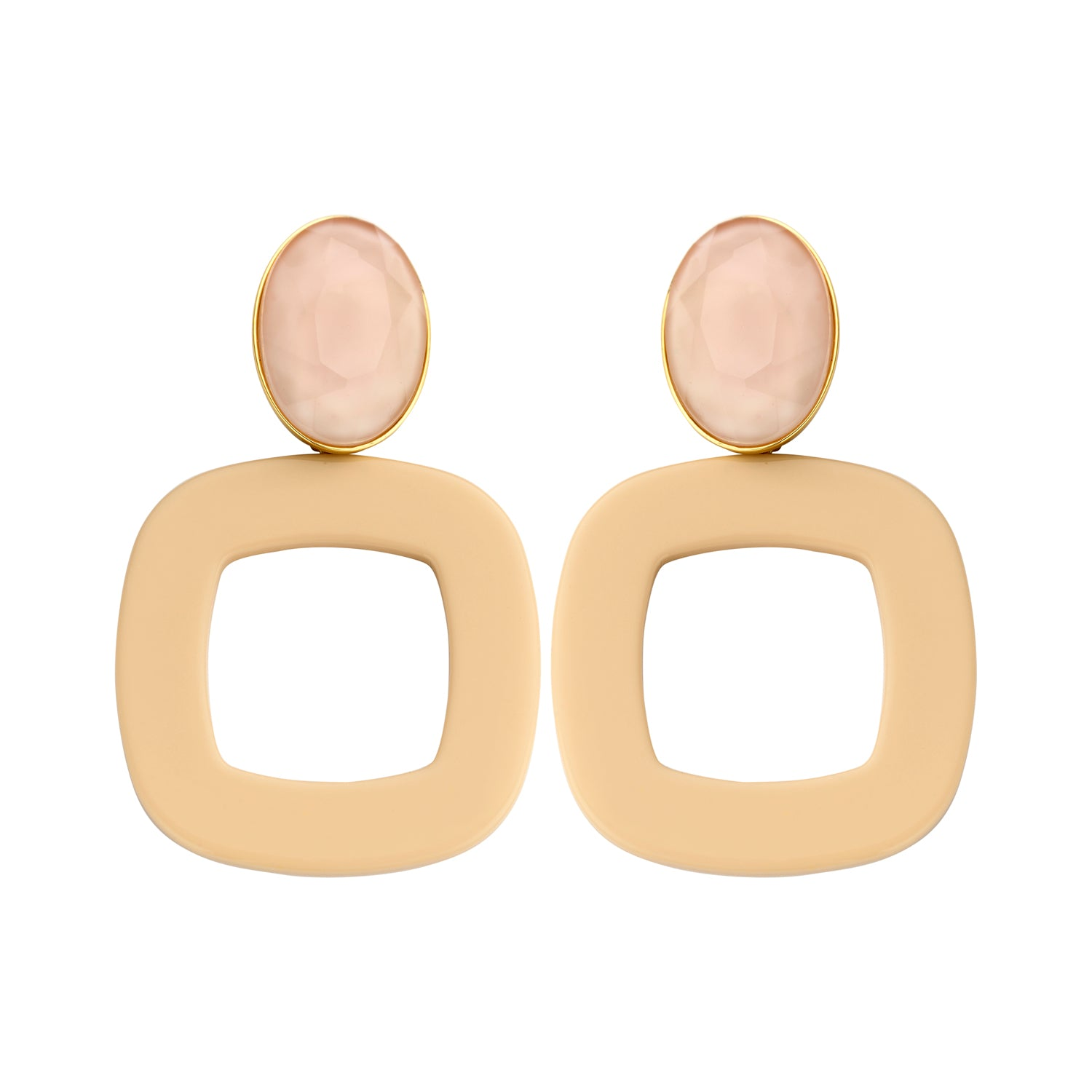 Luciana statement nude earrings - Souvenirs de Pomme