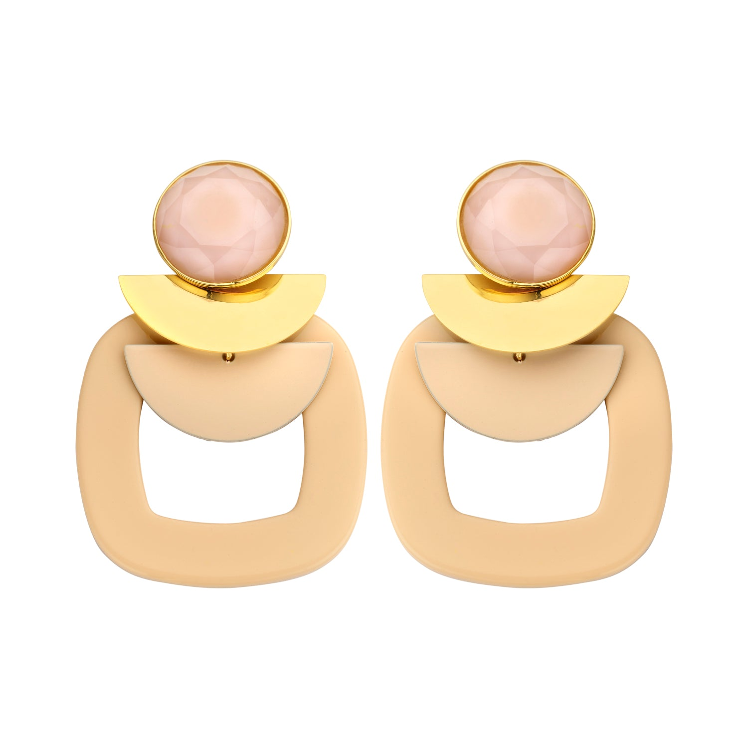 Sonia statement squared nude earrings