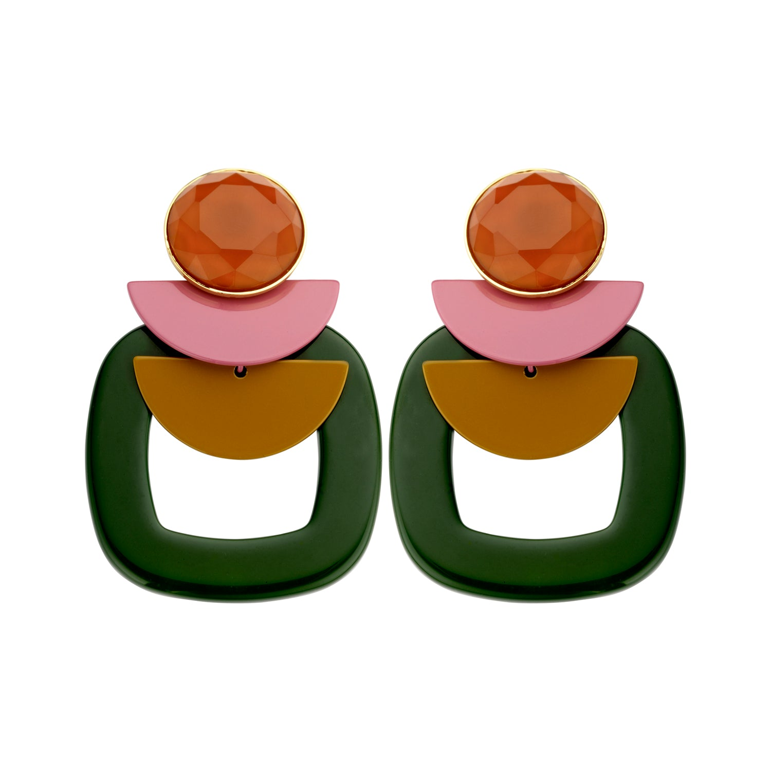 Sonia statement squared green earrings