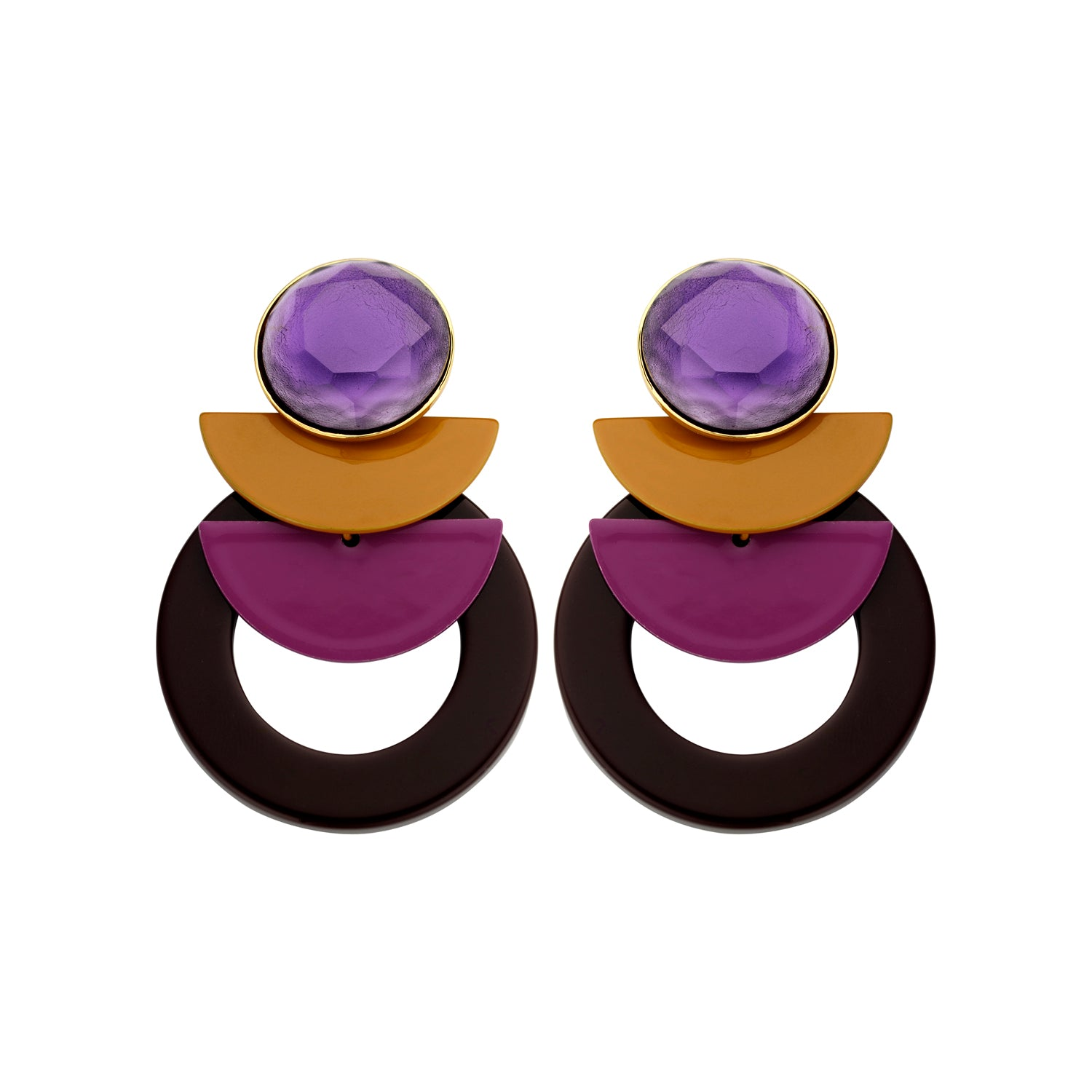 Sonia statement dark purple earrings - Souvenirs de Pomme