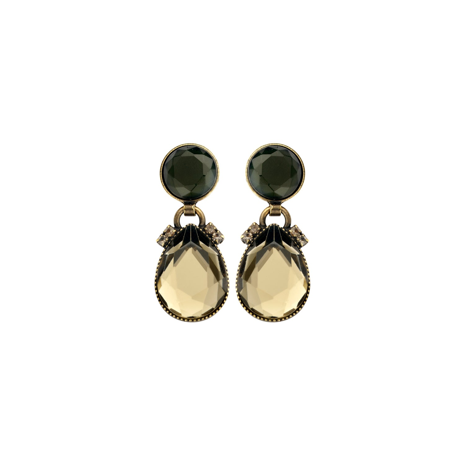 2 mini drops greige earrings