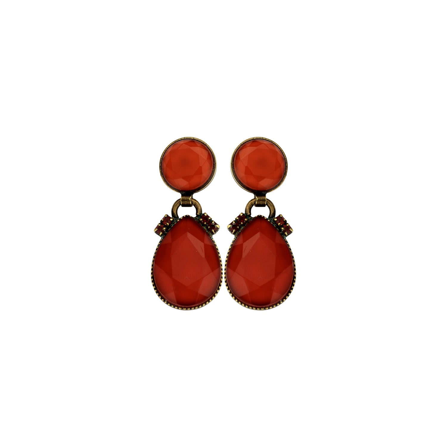 2 mini drops red earrings