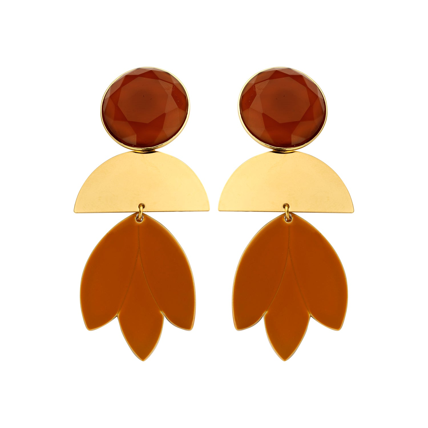 Pomme statement caramel earrings