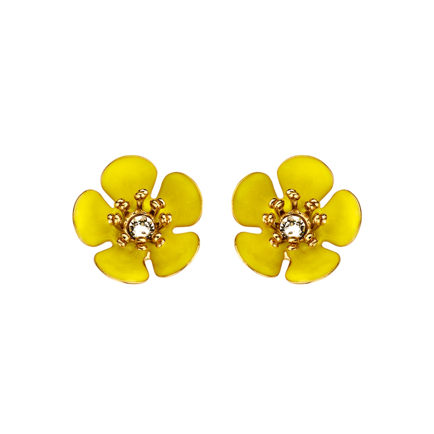Gina mini enamel flower yellow  earrings - Souvenirs de Pomme