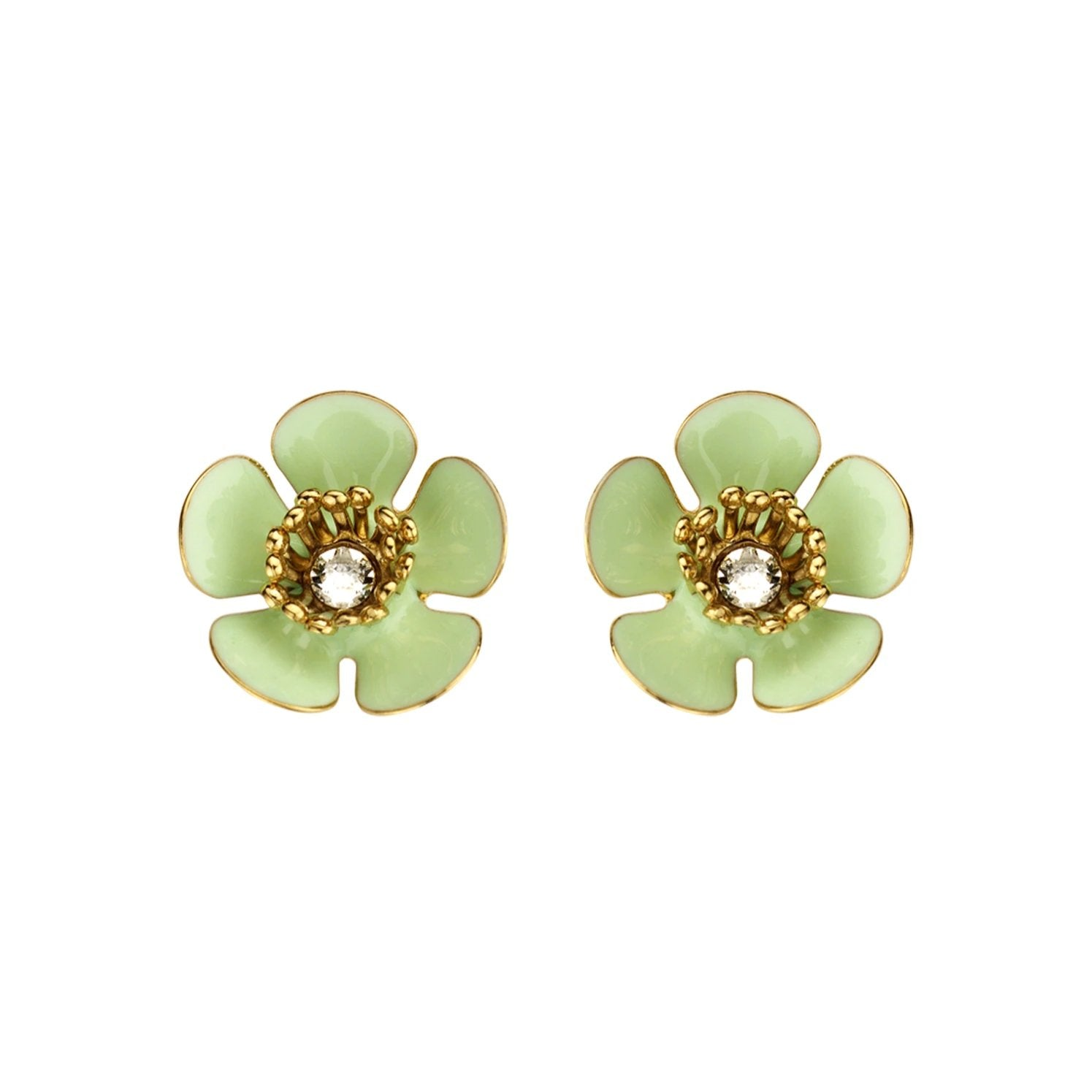 Gina mini enamel flower mint earrings - Souvenirs de Pomme