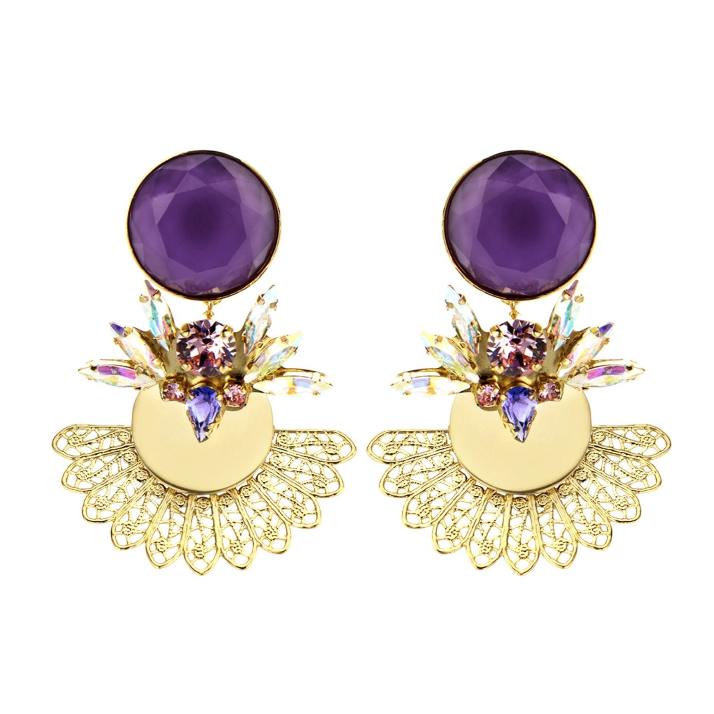 Roberta purple  earrings - Souvenirs de Pomme