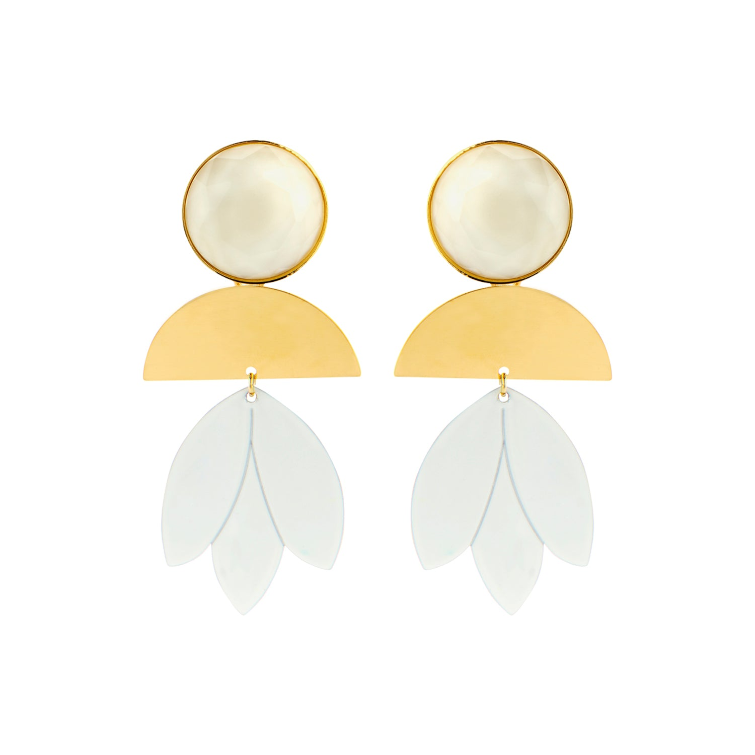Pomme ecru statement earrings