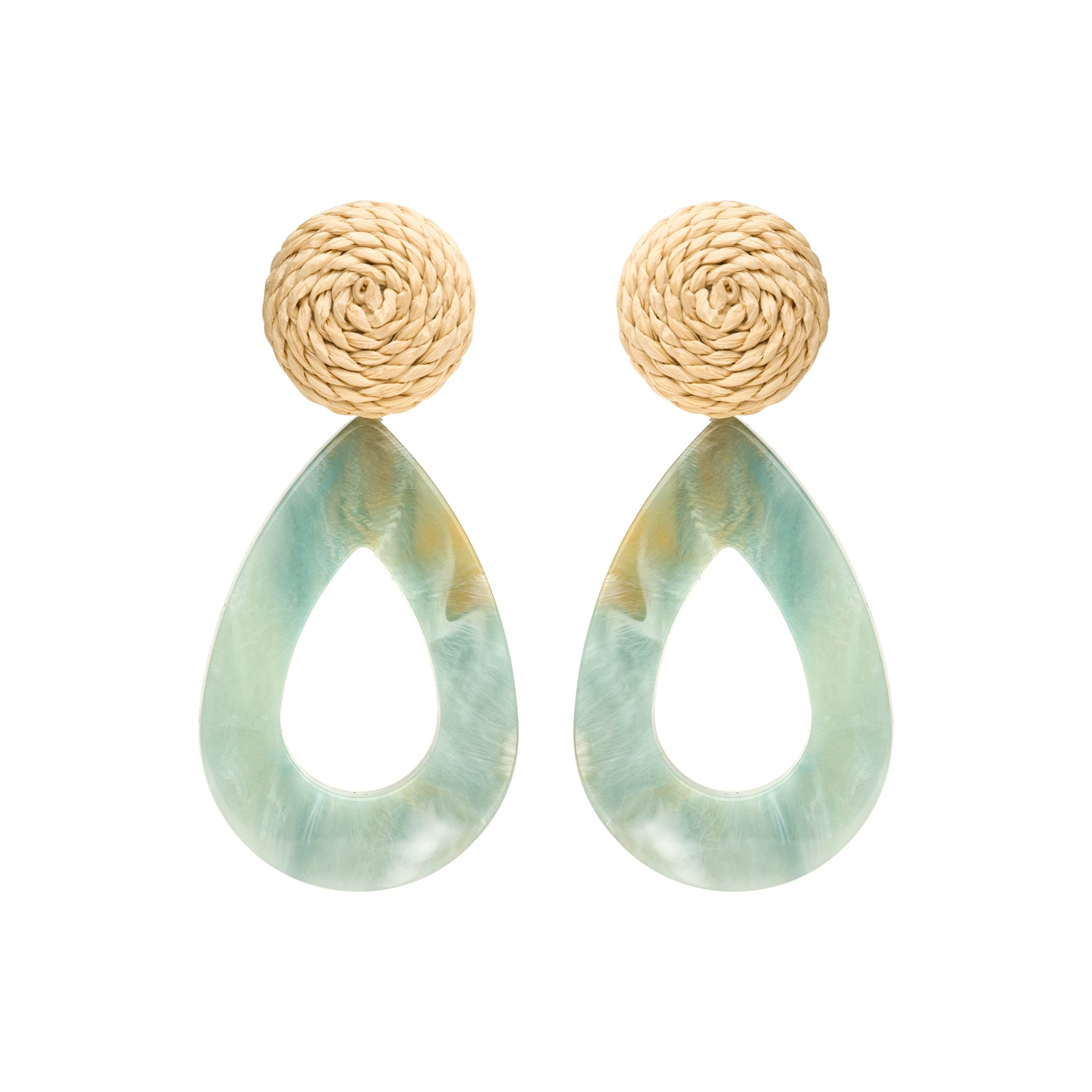 Rotan drop earring mint