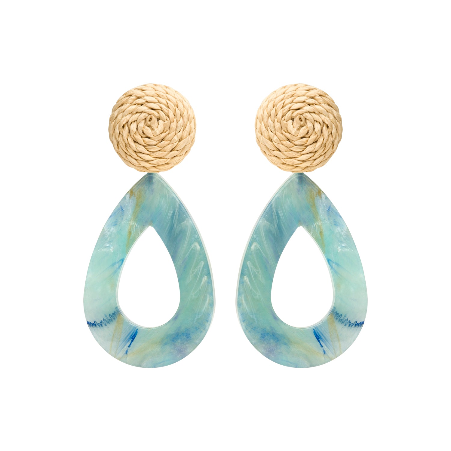 Rotan drop earring blue