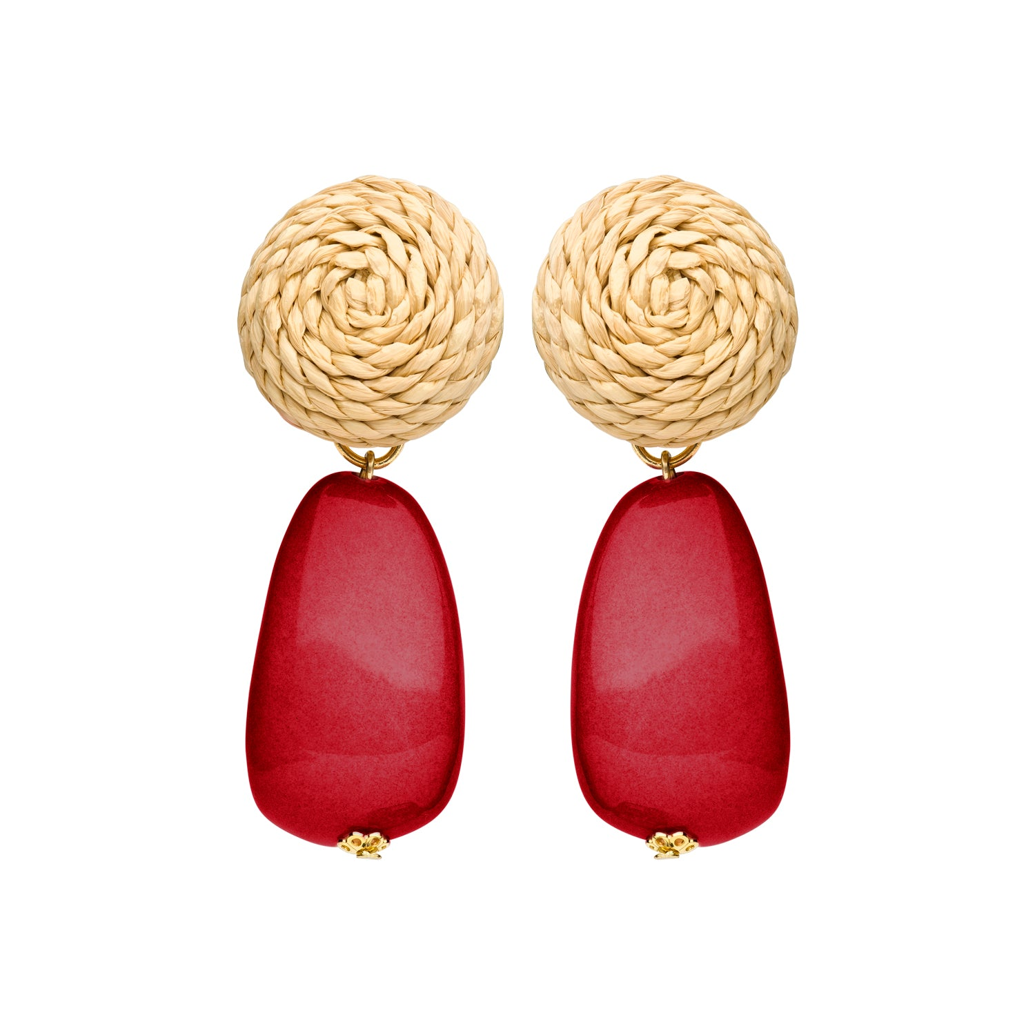 Rotan clip earring red