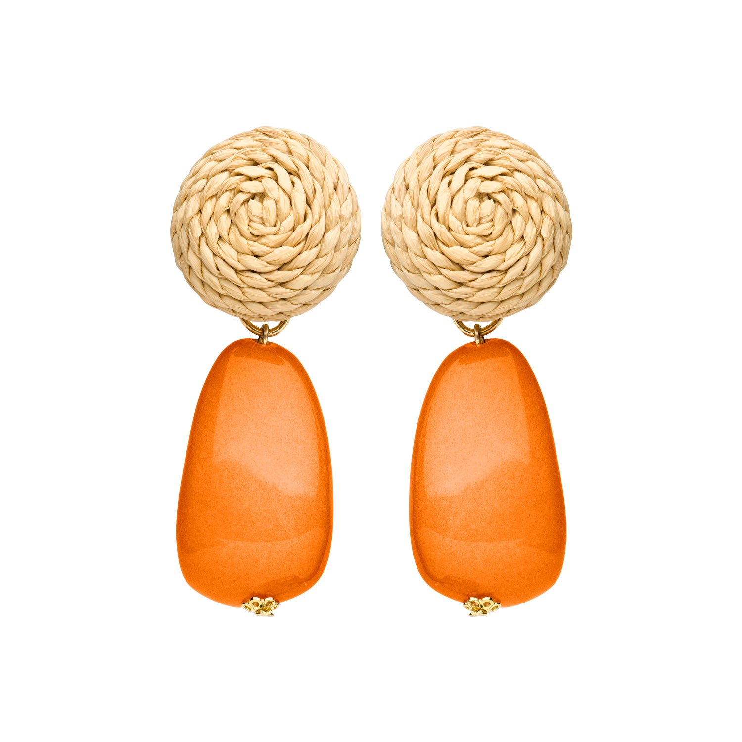 Rotan clip earring orange