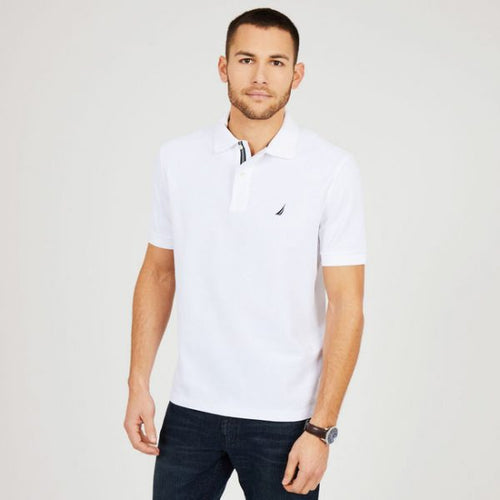NAUTICA SHORT SLEEVE WHITE SLIM FIT PERFORMANCE DECK POLO