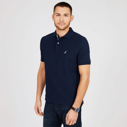NAT IC SHORT SLEEVE Navy SLIM FIT PERFORMANCE DECK POLO