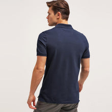 Load image into Gallery viewer, Solid Pique Blue Polo – BANANA REPUBLIC