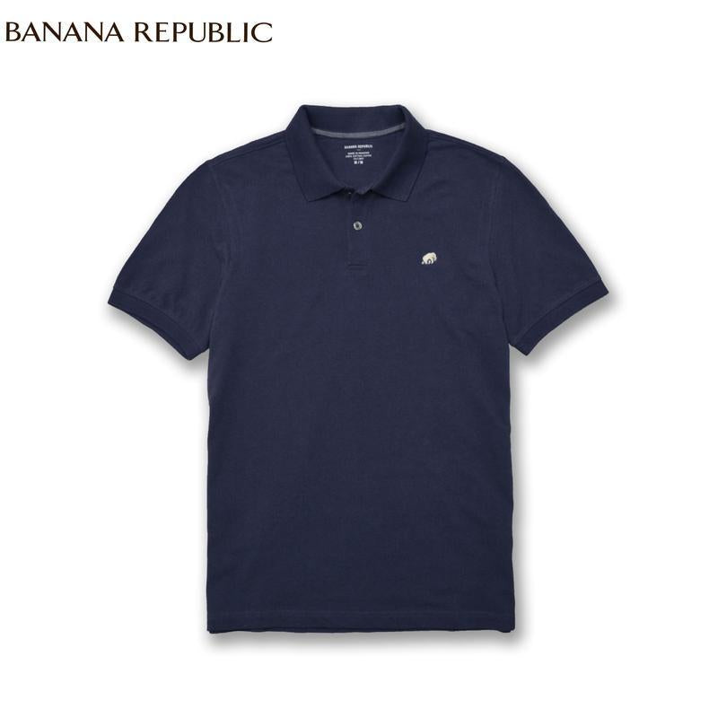 Solid Pique Blue Polo – BANANA REPUBLIC